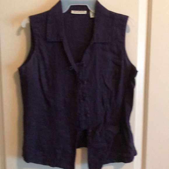 Ann Taylor Tops - Purple linen button up top sleeveless